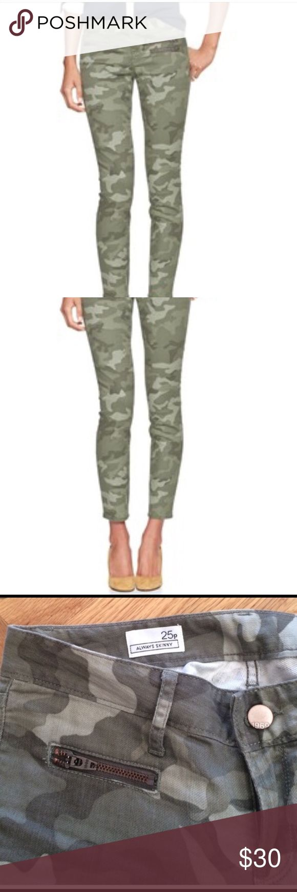 Gap camouflage skinny jeans with zippers Gap 1969 camo skinny jeans with zippers-Extremely stylish! GAP Jeans Skinny