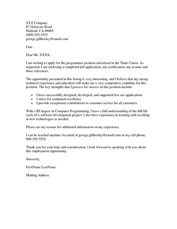 Cover Letter Example Letters And Sample Application Pdf