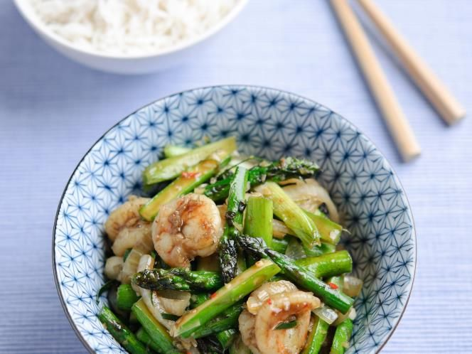 British asparagus, chilli, lemongrass and prawn stir-fry (use rice ...