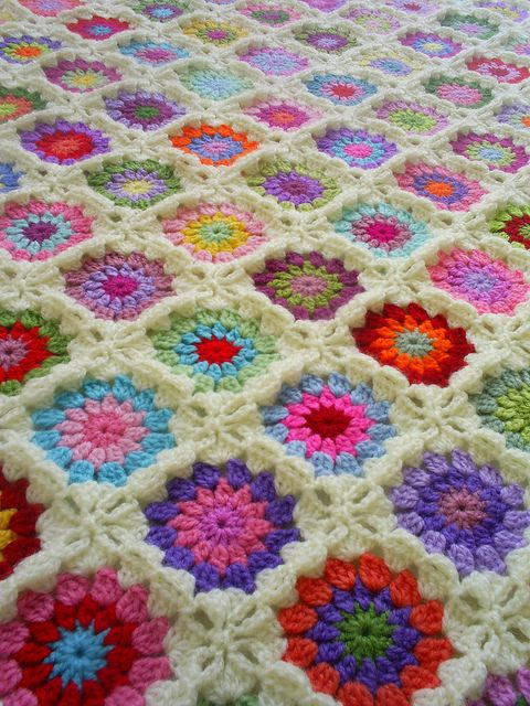 granny square blanket with off white edging   Flickr - Photo Sharing!