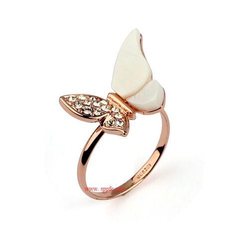 Очарование форме бабочки оболочки кольца в бангкоке с 18 К золото для девочки