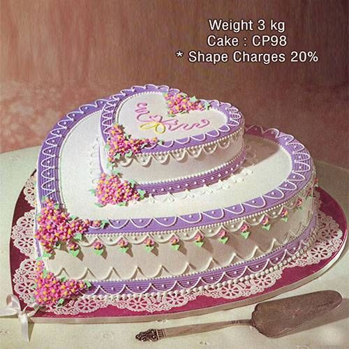 2 tier heart shaped cakes from Cake Park, providing the best custom made wedding cakes in chennai. Click to order online.