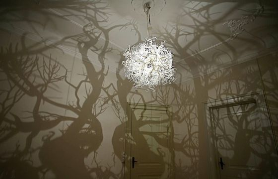 CHANDELIER CASTS SHADOW OF A FOREST OF TREES