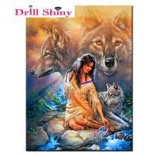 Handwerken Ambachten Nieuwe 5D Diy Diamant Schilderen Stitch Strass Volledige vierkante geplakt Kristal Woondecoratie Indian Vrouw Wolf(China (Mainland))
