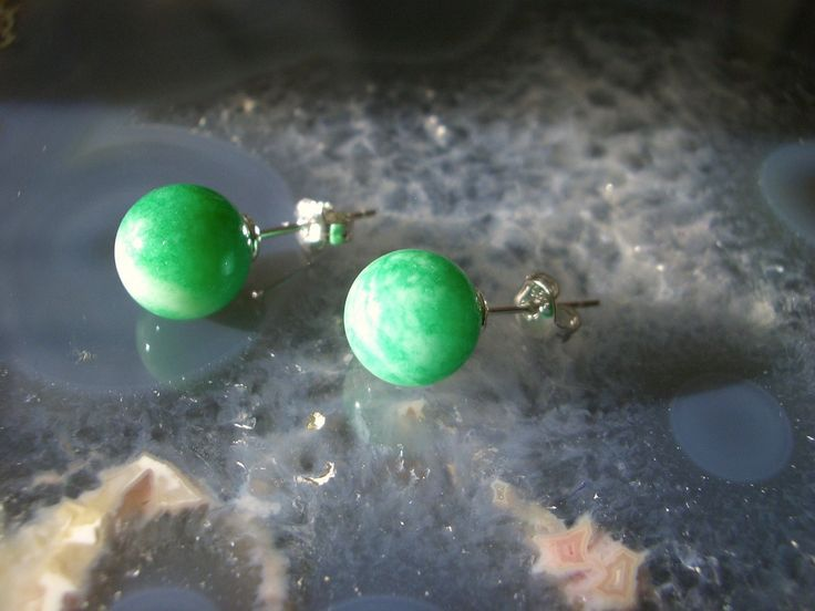 Natural Green JADE Round Gemstones, 925 Solid Sterling Silver,  Classic and Feminine Stud Earrings. by AmeogemPreciousJewel on Etsy