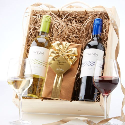 £30.00. Red, White & Chocolates. Enjoy a soft, plummy Merlot, a zesty, tropical fruit flavoured Sauvignon Blanc and fantastic Belgian chocolates. Presented in a pine gift hamper.