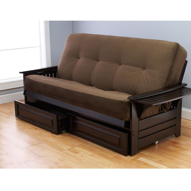 Futon Sofa Bed Black With Wooden Frame And Drawer