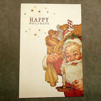 Christmas Card HALLMARK Greeting Cards & Envelopes Vintage SANTA NIB 18 Toy Sack
