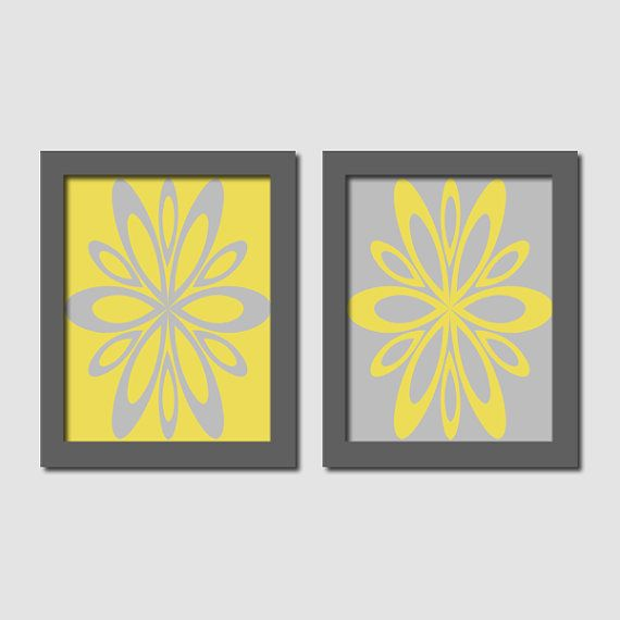Yellow Gray Bathroom Bedroom Wall Art Abstract Floral Flower Burst Artwork Set of 2 Prints Teen Girl Home Decor Abstract Art Nursery Picture...