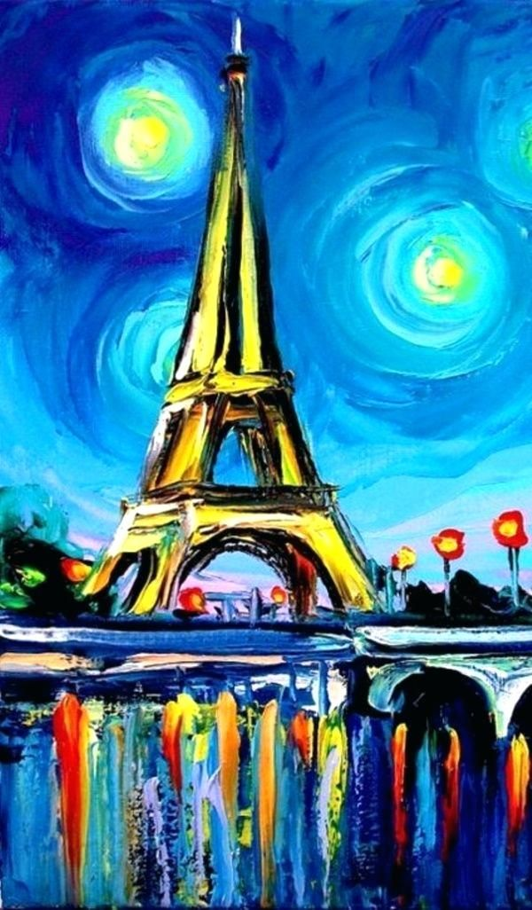 Easy Canvas Painting Ideas Acrylic Awesome For Kids 9 Home Design Eiffel Tower Art Simple Acrylic Paintings Eiffel Tower Painting