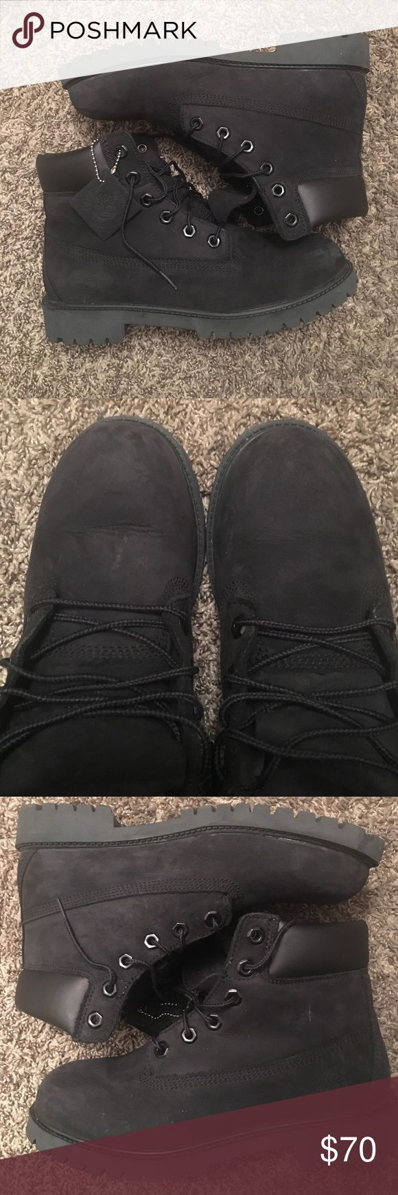 All Black Timberlands All black Timbs. Worn once. Size 6.5 in boys, so 8.5/9 in women's. Timberland Shoes
