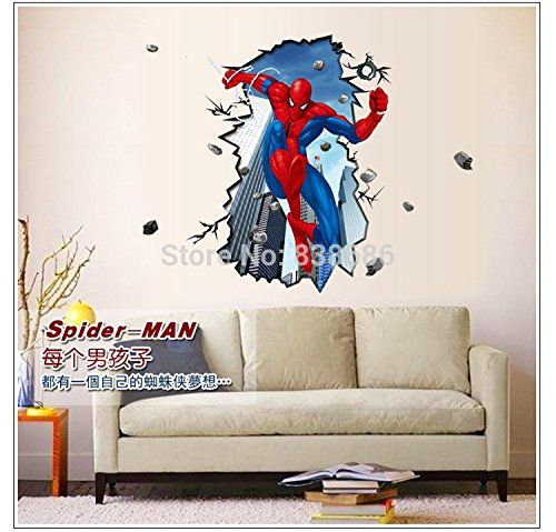 Free Shipping Giant Superman Spiderman Wall Stickers Home Decor Wall Decals  3D Wall Sticker For Kids Part 86
