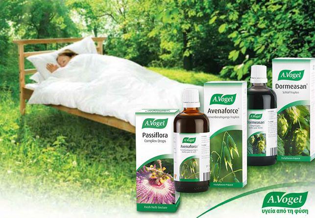 A.Vogel Dormeasan® με βαλεριάνα και λυκίσκο. Είναι εξαιρετικά αποτελεσματικό σαν βοήθημα για την αϋπνία, συμβάλλοντας σε φυσικό-θεραπευτικό ύπνο. Σαν αντισπασμωδικό βοηθά στην απαλλαγή από τις κράμπες και τον εντερικό κολικό και είναι επίσης χρήσιμο για τις κράμπες και τους πόνους της περιόδου.  Επίσης, για την αϋπνία, η A.Vogel προτείνει το βάμμα A.Vogel Passiflora και το βάμμα A.Vogel Avenaforce.  http://www.avogel.gr/product-finder/avogel/dormeasan_tinct.php  www.avogel.gr