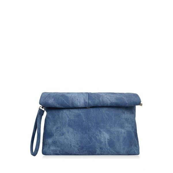 Solid Color Hemming Denim Clutch Bag Blue (20,985 KRW) ❤ liked on Polyvore featuring bags, handbags, clutches, blue purse, blue handbags, blue clutches, denim handbags and white handbags