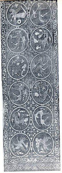 14th century tablecloth is 105 cm x 308 cm Tischtuch aus dem Kloster Feldbach, Thurgau,   105 cm x 308 cm, 14. Jh.  Histor. Museum Basel, Inv.Nr. 1883.100