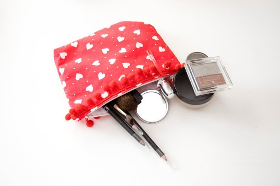 Cosmetic / Make up Purse with red bobble trim by moodycowdesigns, £6.00