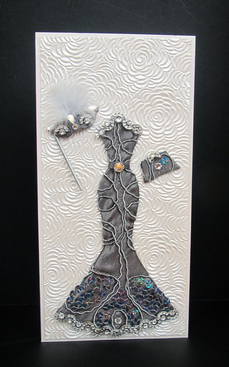 Miranda Masquerade Dress Personalized Card / DL Size / Handmade Greeting Card.