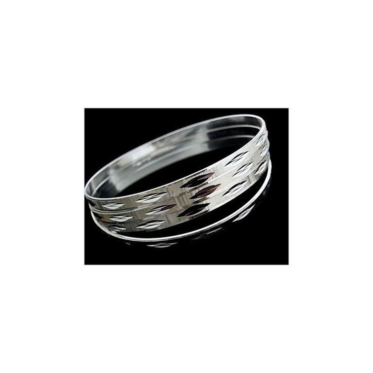 Pulsera de plata de primera ley estilo brazalete de aro semanario tallado de 7 aros