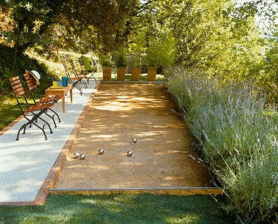 Bocce Ball court in the garden… A must for retirement house. Forget retirement, I want this in my yard. @ Home Idea Network