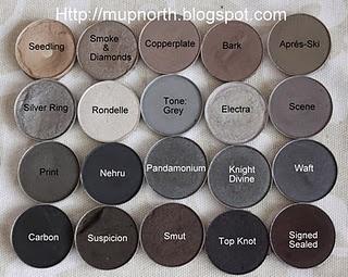 MAC taupes and greys eyeshadows.