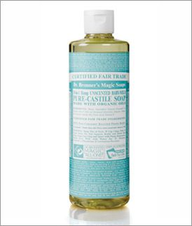 Dr. Bronners soap: has tons of functions like bathing, washing hair, washing makeup brushes, washing clothes, cleaning the house etc. fair trade and all naturlal/ organic