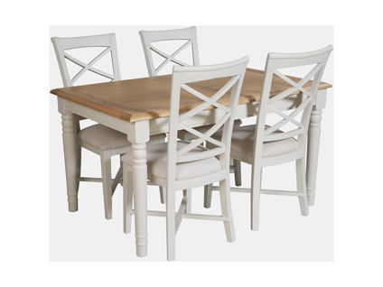 hartham extending dining table and 4 wooden chairs in cream dining room furniture harveys - Cream Kitchen Tables