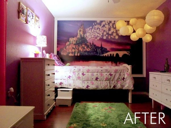 Rapunzel Inspired Bedroom, This is my daughters bedroom. She loves the Disney movie Tangled so that was my inspiration. We gutted her room and started fresh with an empty box., The wall mural was designed by my friend who is a graphic designer. We installed wood flooring and painted the walls purple., Girls Rooms Design