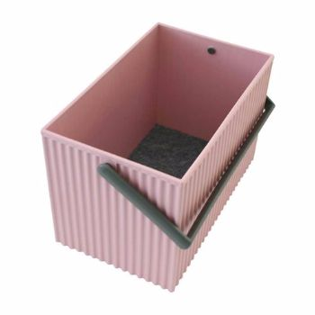 Hachiman Medium Rose Pink With Grey Handles Omnioffre Carry Storage Box: Medium rose pink with grey handles Omnioffre carry storage box from Hachiman is easy to carry and designed to look like corrugated cardboard. A protective felt sheet is included at the bottom of the box to create a cushioning surface. Thanks to their clever design, the boxes can also be stacked together like bricks.