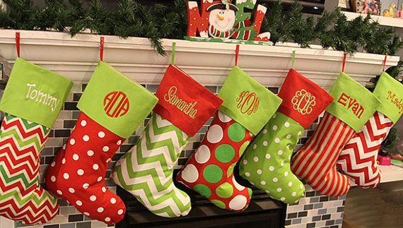 Christmas Stocking Monogrammed Christmas Stockings - Large Personalized Christmas Stocking Great For Family Gift - Seven Fabric Choices - by fourbugsinarug on Etsy