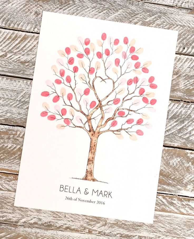 Unity tree fingerprint guest book watercolour version A3 size suitable for up to 90 guests signatures, from Daisywood.