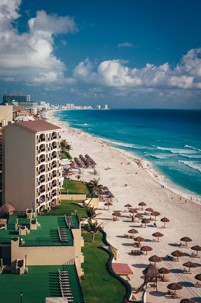 The beaches of Cancun's Hotel Zone, viewed from atop the Royal Caribbean Resort.