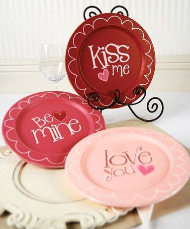 Kiss Me plate.  Be mine plate.  Love you plate.  DIY decorated pottery painting plates.
