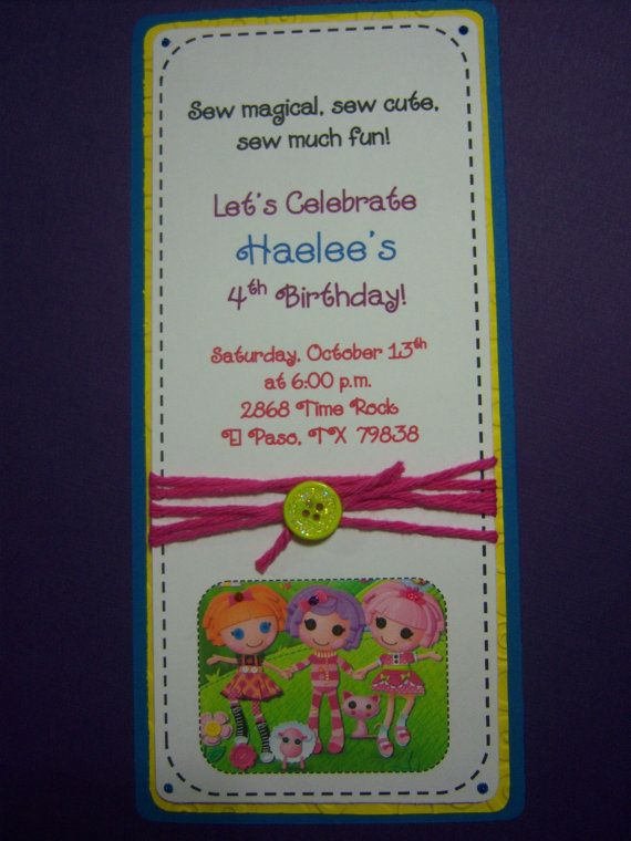 Lalaloopsy Birthday Girl Party Invitations by arismcgraw on Etsy, $15.00