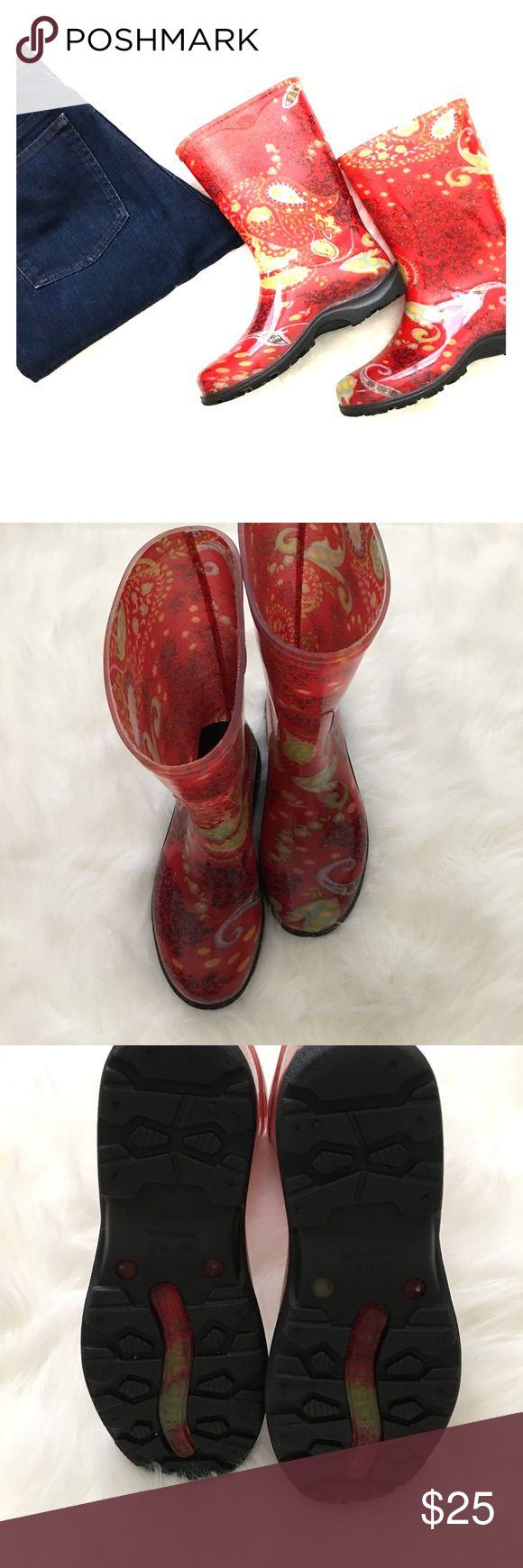 "NWT Slogger rain boots NWT size 7 Slogger rain boots. Red paisley design black rubber slip resistant sole. 10"" high 7"" opening. Shoes"