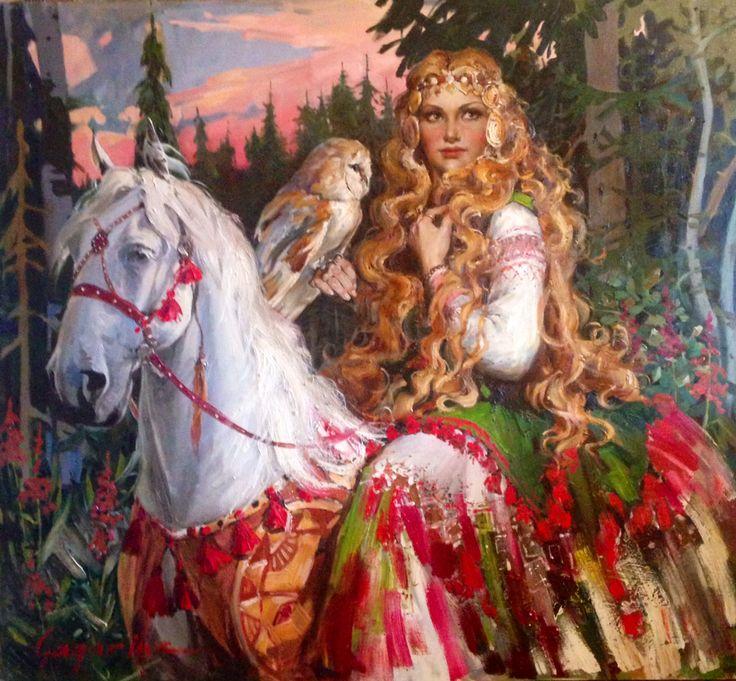 "irina gagarina "" witch""oil painting, women portret"