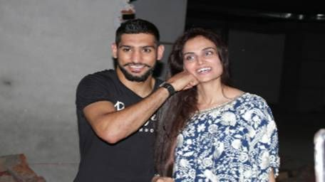 Amir Khan poses for Pepe Jeans at Pace Tower T-27