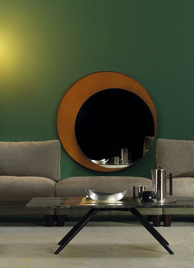 ECLIPSE Mirrors by BORZALINO - Brass frame burnished bronze, detail leather - #mirrors #coffee tables #furniture #sofa #chair #armchair #andrea andretta design