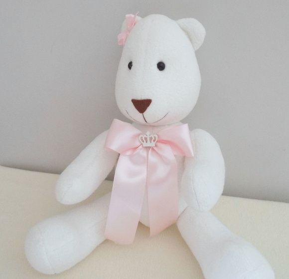 Ursa Princesa Betha Ursinha princesa, coroa, decoração chá de bebê, laço, decoração menina, decoração quarto de bebê, decoração chá de bebê