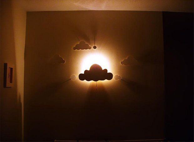 Cut out clouds and a lightbulb