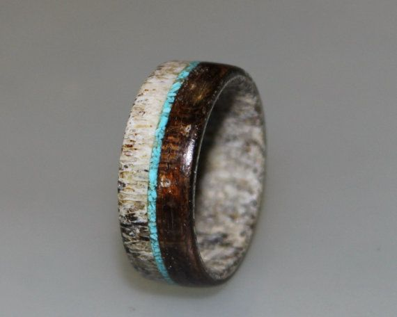 Deer Antler Ring, Antler Men's Ring, Wrapped Wood Ring, Turquoise Ring