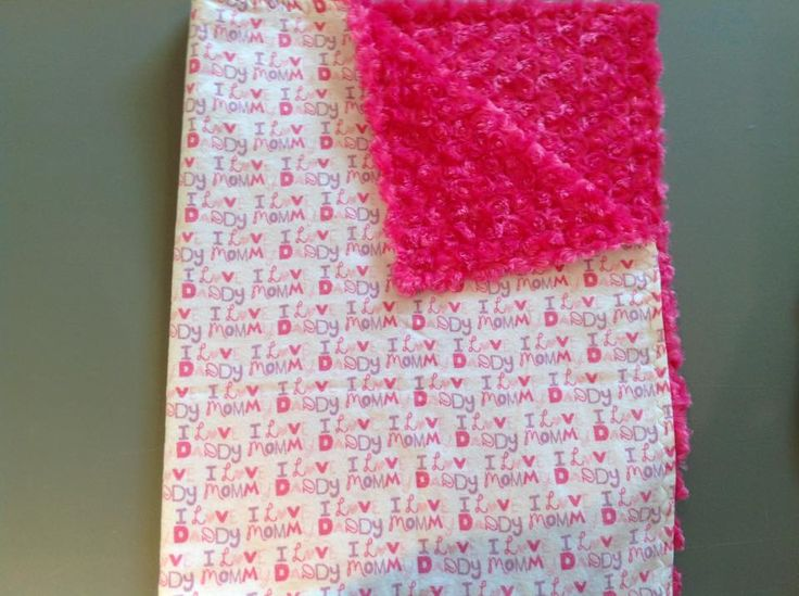 """""""I love mommy I love daddy"""" with pink rose small blanket for travel or in the stroller."""