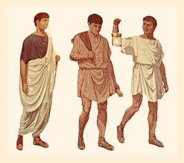 La Toge : vêtement masculin romain. Souvent en lin ou en laine, et plus rarement en coton, elle se porte pour sortir, drapée par dessus la tunique.