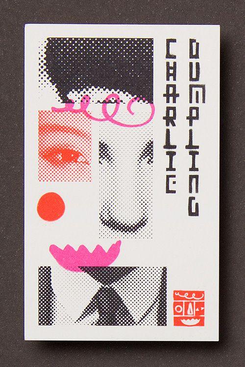 Charlie Dumpling: Restaurant Identity   Design by Pidgeon 時間の経過を感じさせる 低い線数のドットと、日に焼けたような色。