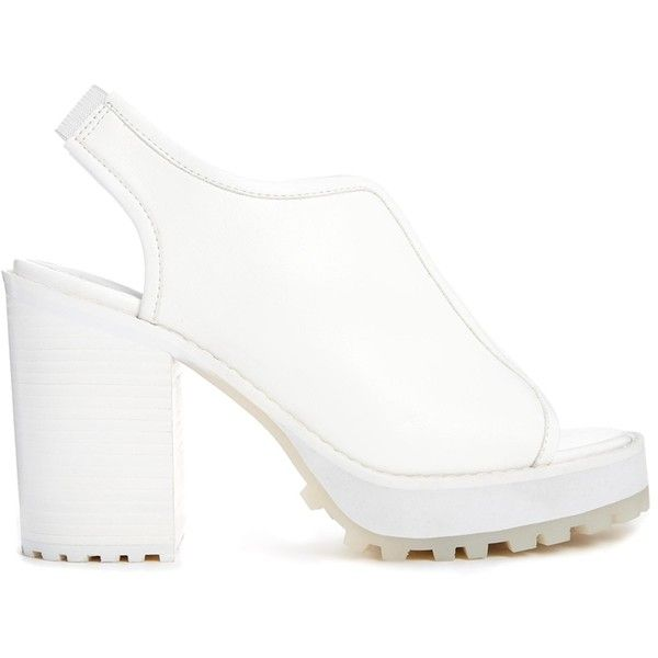 Monki Lovis White Heeled Sandals (1.120 RUB) ❤ liked on Polyvore featuring shoes, sandals, heels, white, strap heel sandals, white sandals, white block heel sandals, white strappy sandals and white strap sandals