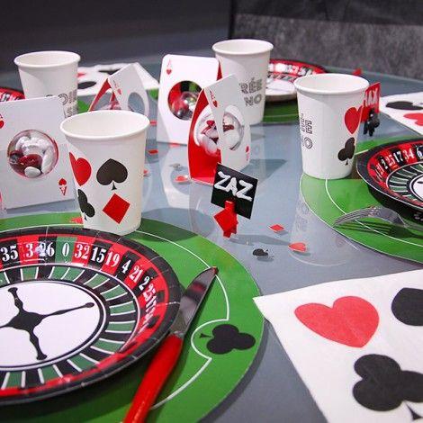 Decoration de table poker ou casino. Pour un mariage, un anniversaire ou simplement une soirée poker entre amis ! Retrouvez tous nos produits sur le site !  #poker #casino #anniversaire