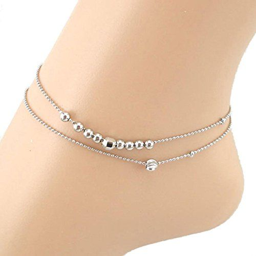 SusenstoneDouble Ball Chain Women Chain Anklet Bracelet Sandal Beach Foot Jewelry.More info for trendy anklets online;silver anklets price;black anklet;traditional anklets;buy silver anklets online could be found at the image url.(This is an Amazon affiliate link and I receive a commission for the sales)