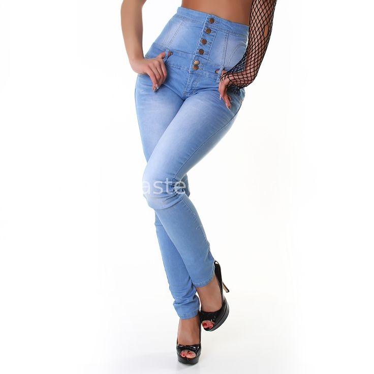 Jeans a vita alta chiaro