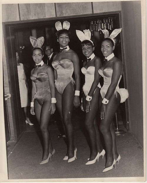 First Black Playboy Bunnies. The original bunny costumes were designed by a black woman.