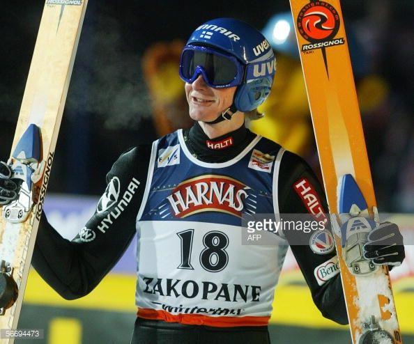 Tami Kiuru of Finland celebrates his second place after the Ski Jumping World Cup competition in Zakopane 28 January 2006 Matti Hautamaeki of Finalnd...