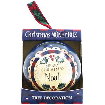 Personalised Money Box Bauble - Noah | Money Boxes at The Works